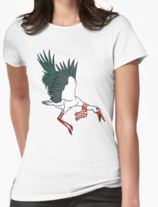 Crane Wearing A Scarf Womens Fitted T-Shirt