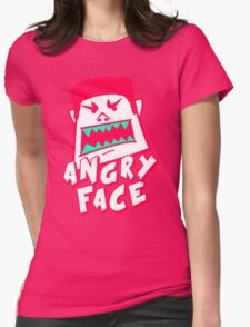 Angry Face Cartoon Womens Fitted T-Shirt