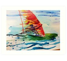 Windsurfing watercolour Art Print