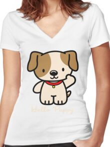 Hello Puppy Women's Fitted V-Neck T-Shirt