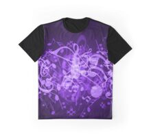 Purple Glow Music Notes Graphic T-Shirt