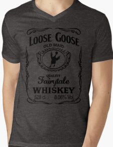 Loose Goose Whiskey Black Mens V-Neck T-Shirt