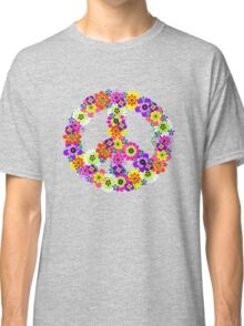 Peace Sign Floral Classic T-Shirt