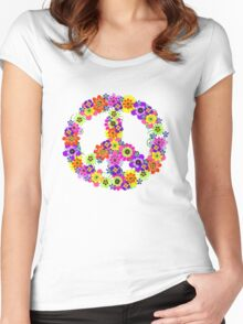 Peace Sign Floral Women's Fitted Scoop T-Shirt