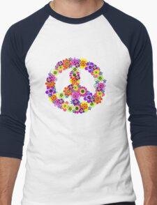 Peace Sign Floral Men's Baseball ¾ T-Shirt
