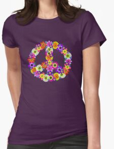 Peace Sign Floral Womens Fitted T-Shirt