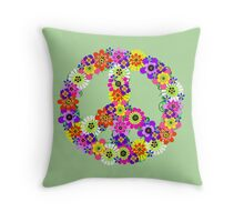 Peace Sign Floral Throw Pillow