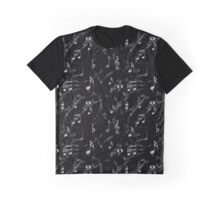 Grey and Black Music Notes Pattern Graphic T-Shirt