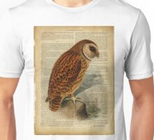 vintage print, on old book page - birds - Owl Unisex T-Shirt