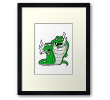 team buddies party crew funny pothead stoned joint stoned weed hemp cannabis drug smoke stoned comic cartoon snake Framed Print