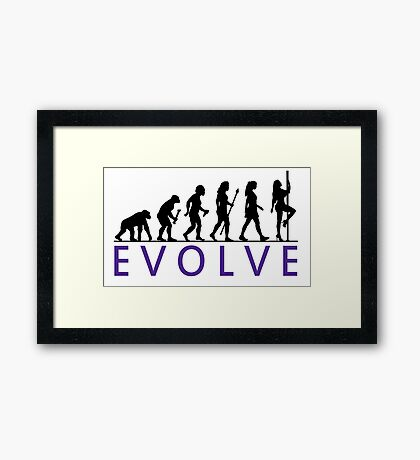 Funny Pole Dancing Evolution Framed Print
