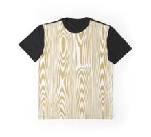 Gold Glitter & White Abstract Wood Grain Pattern Graphic T-Shirt