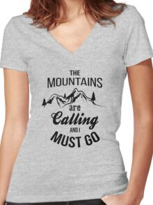 typograph Mountains are calling Women's Fitted V-Neck T-Shirt