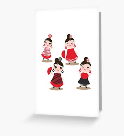 Flamenco dancers on black Greeting Card