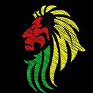 Lion Reggae Colors Cool Flag Vector Art  by Denis Marsili