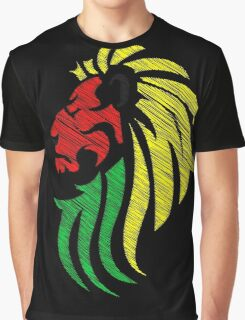 Lion Reggae Colors Cool Flag Vector Art  Graphic T-Shirt
