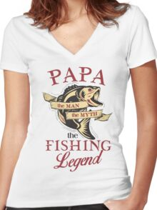 Papa loves fishing  Women's Fitted V-Neck T-Shirt