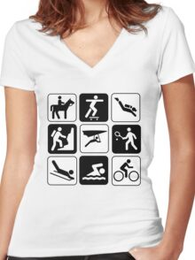 ALL SPORTS Women's Fitted V-Neck T-Shirt