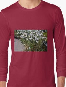 Green bush with white flowers. Long Sleeve T-Shirt