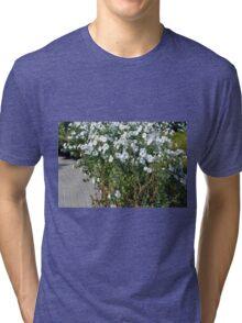 Green bush with white flowers. Tri-blend T-Shirt