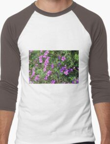 Green bush with purple flowers. Men's Baseball ¾ T-Shirt