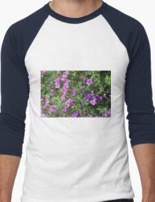 Green bush with purple flowers. Men's Baseball ¾ T-Shirt