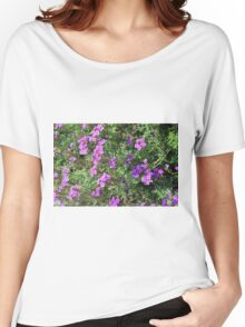 Green bush with purple flowers. Women's Relaxed Fit T-Shirt