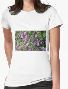 Green bush with purple flowers. Womens Fitted T-Shirt