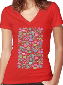 Macarons and flowers Women's Fitted V-Neck T-Shirt