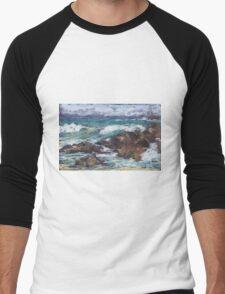 Flynns Beach rocks & surf  Men's Baseball ¾ T-Shirt