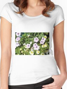 Colorful flowers and green leaves. Women's Fitted Scoop T-Shirt