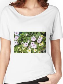 Colorful flowers and green leaves. Women's Relaxed Fit T-Shirt