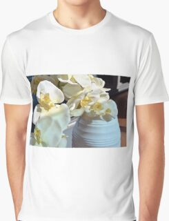 White flowers in the vase. Graphic T-Shirt