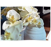 White flowers in the vase. Poster