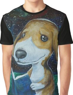 Dog Reading Graphic T-Shirt