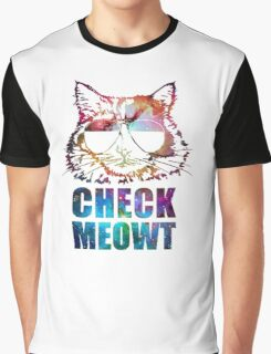 Check Meowt Cat Sunglasses nebula Graphic T-Shirt