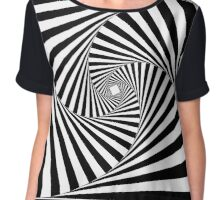 Black and White Psychedelic Spiral Tunnel Chiffon Top