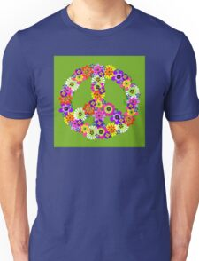 Peace Sign Floral on Green Unisex T-Shirt