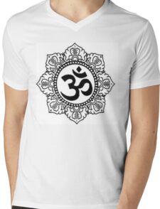 Mandala with Om Symbol Mens V-Neck T-Shirt