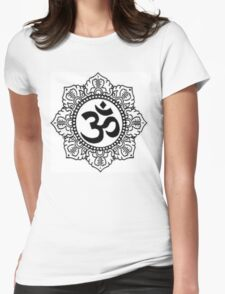 Mandala with Om Symbol Womens Fitted T-Shirt