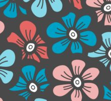 Cute blue and orange floral pattern Sticker