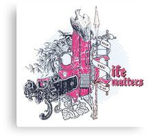 Life matters with pistol, dove and florals Canvas Print