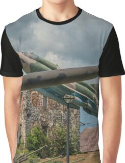 Military Barrage & Jet Aircraft Graphic T-Shirt