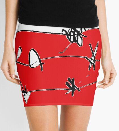 BARBED RED WHITE BLACK Mini Skirt