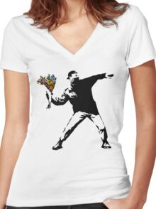 Banksy - Rage, Flower Thrower Women's Fitted V-Neck T-Shirt