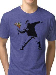 Banksy - Rage, Flower Thrower Tri-blend T-Shirt