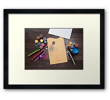 colored pencils paint brush  Framed Print