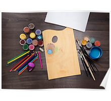 colored pencils paint brush  Poster
