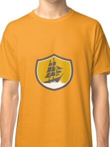 Sailing Galleon Tall Ship Crest Retro Classic T-Shirt