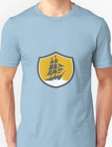 Sailing Galleon Tall Ship Crest Retro T-Shirt